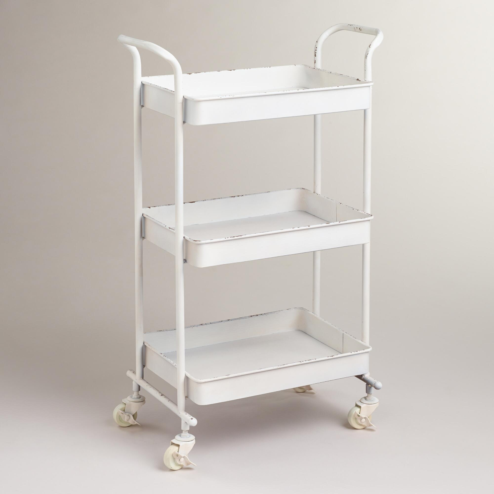 White Austin 3-Tier Metal Cart | World Market