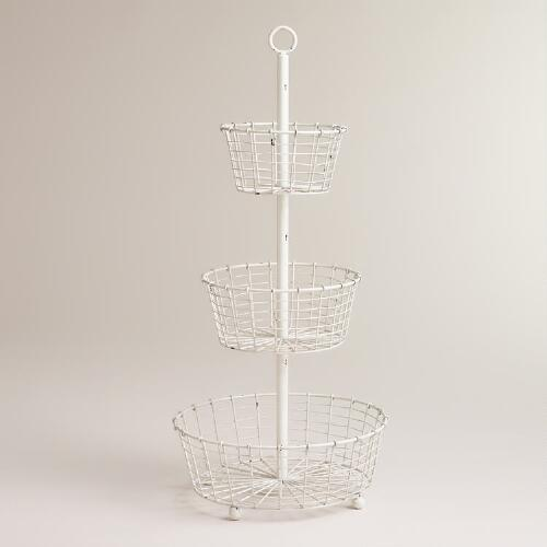 White Mia Wire 3-Tier Stand