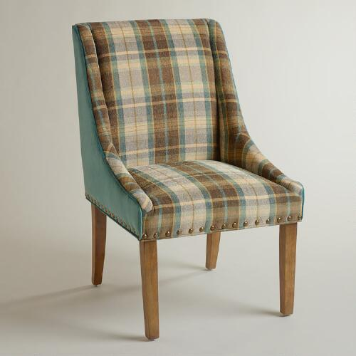 Plaid and Teal Green Wes Dining Chair