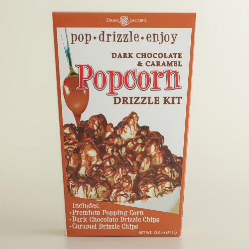 Dark Chocolate and Sea Salt Caramel Drizzled Popcorn
