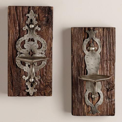 Small Recycled Wood & Metal Sconces Candleholders, Set of 2