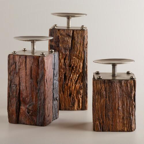 Recycled Wood and Metal Pillar Candleholders