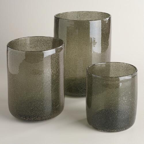 Gray Metallic Bubble Candleholders