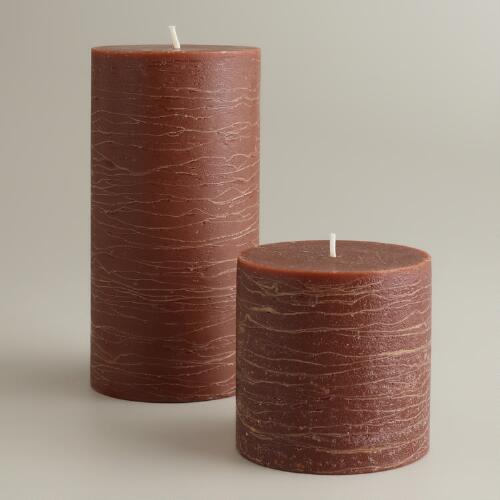 Brown Rustic Unscented Pillar Candles