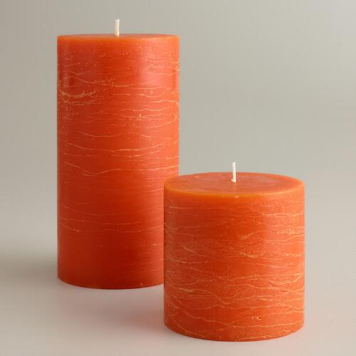 Orange Rustic Unscented Pillar Candles