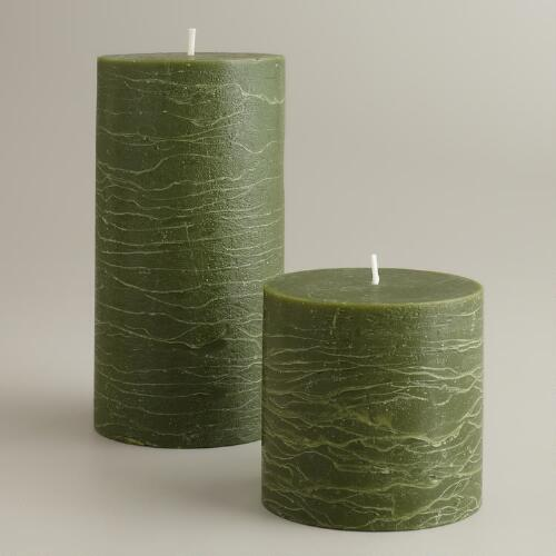 Green Rustic Unscented Pillar Candles