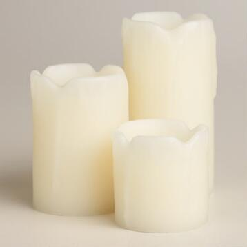 Mini Melted LED Candles, Set of 3
