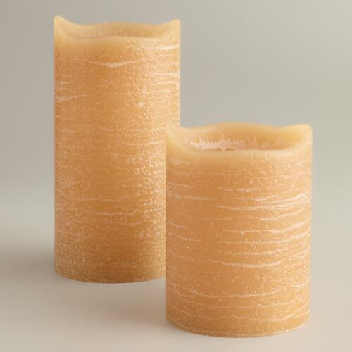 Amber Rustic LED Pillar Candles