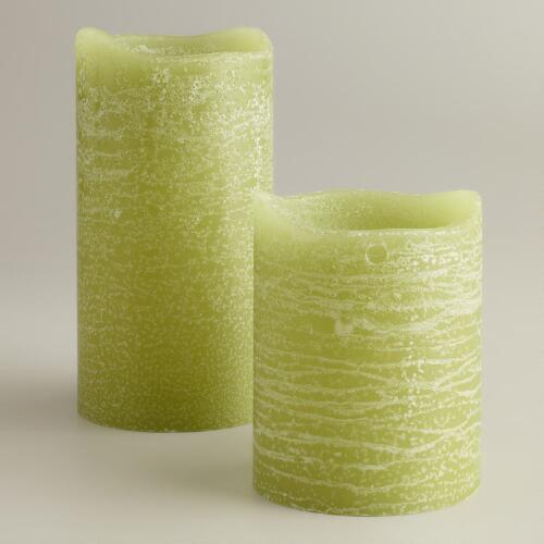 Olive Rustic LED Pillar Candles