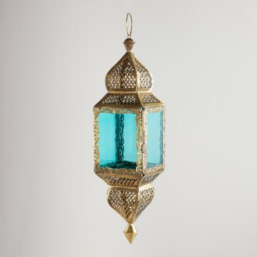 Medium Teal Kamali Hanging Lantern