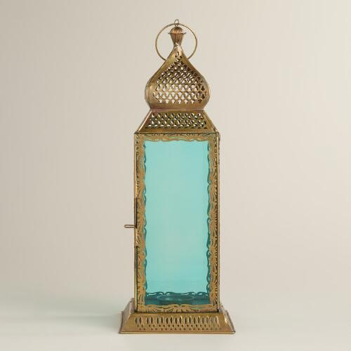 Large Teal Kamali Tabletop Lantern