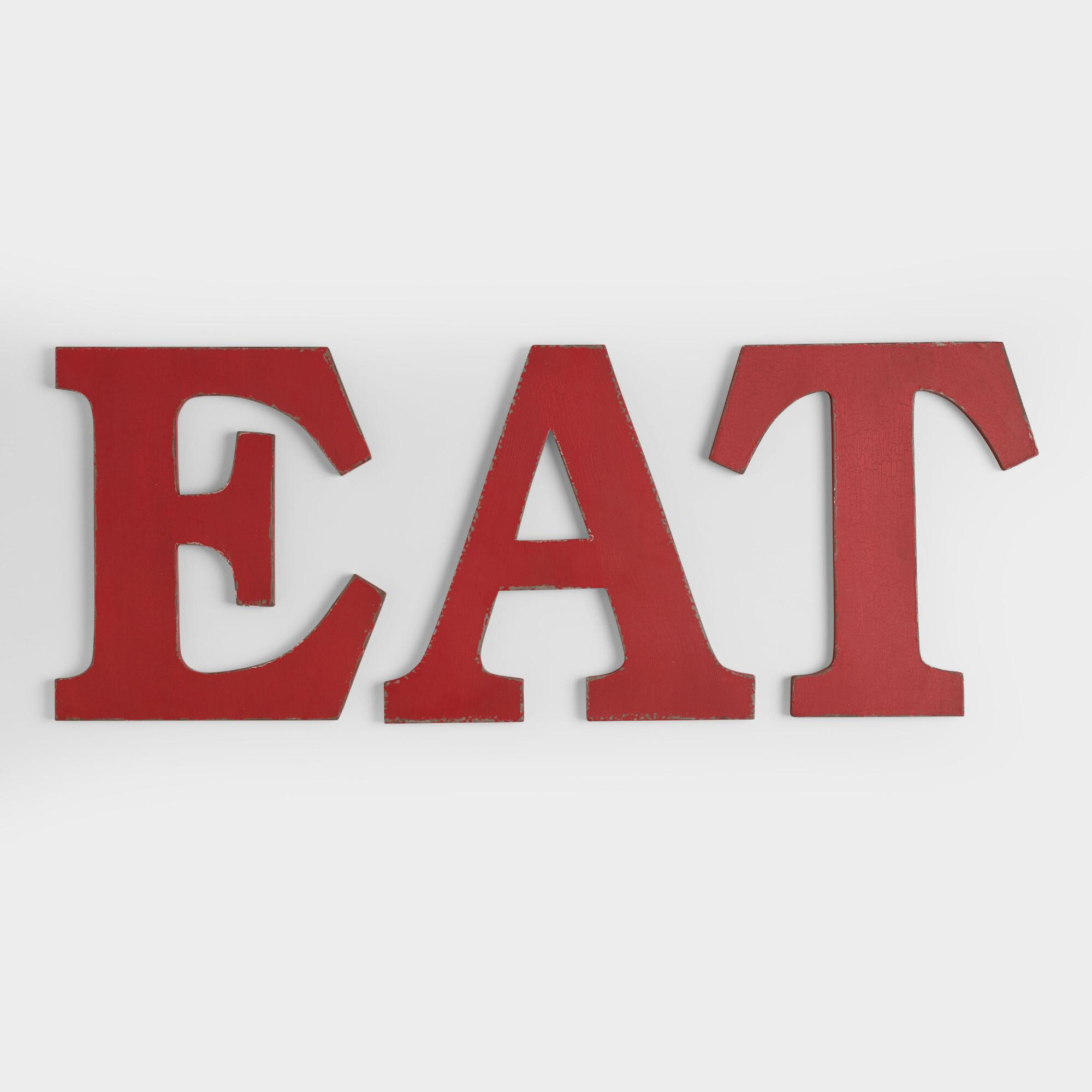 """""""Eat"""" Wall Letters, Set Of 3"""