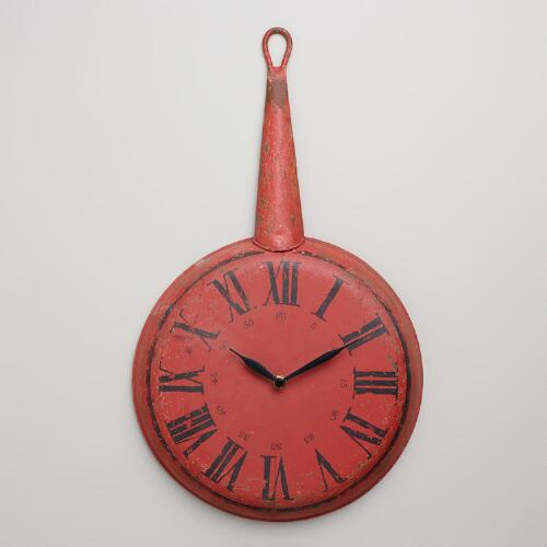 Red Frying Pan Clock