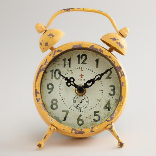 Yellow Vintage-Style Magnet Clock