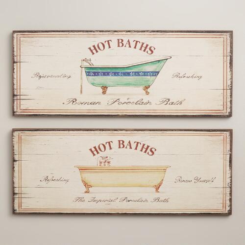 Hot Baths Signs, Set of 2