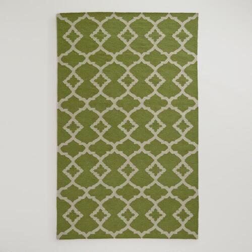 Green Ivory Lattice Flat-Woven Wool Rug