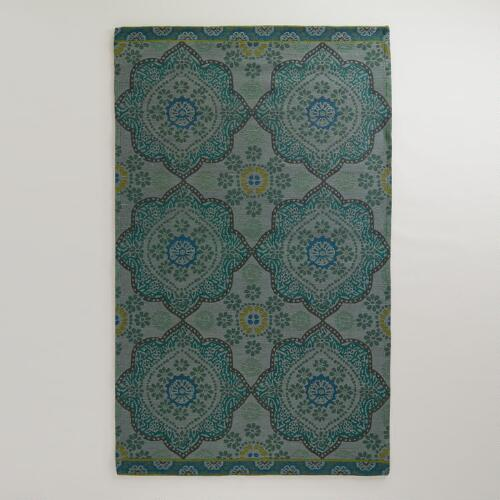 Teal Mosaic Indoor-Outdoor Rug