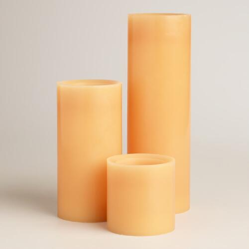 Amber LED Pillar Candles