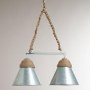 Double Galvanized Metal and Rope Pendant Lamp