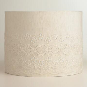 Ivory Eyelet Drum Table Lamp Shade