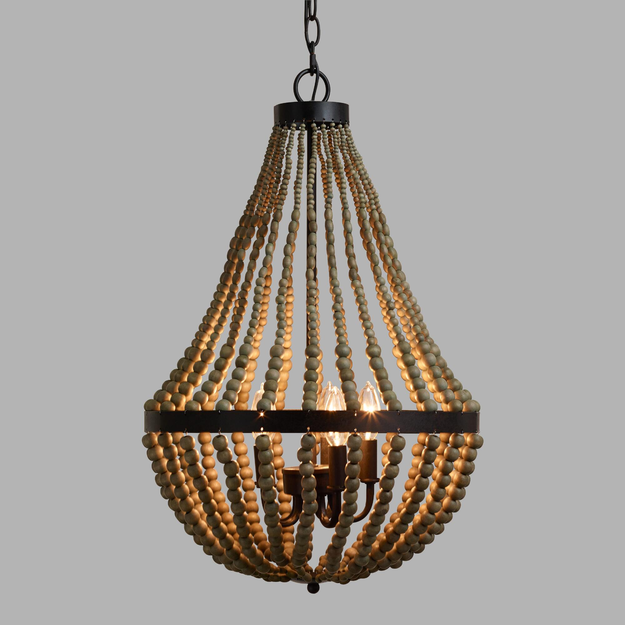 Small wood bead chandelier world market - Light fixtures chandeliers ...