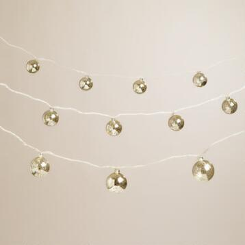 Mercury Glass Ball 10-Bulb String Lights