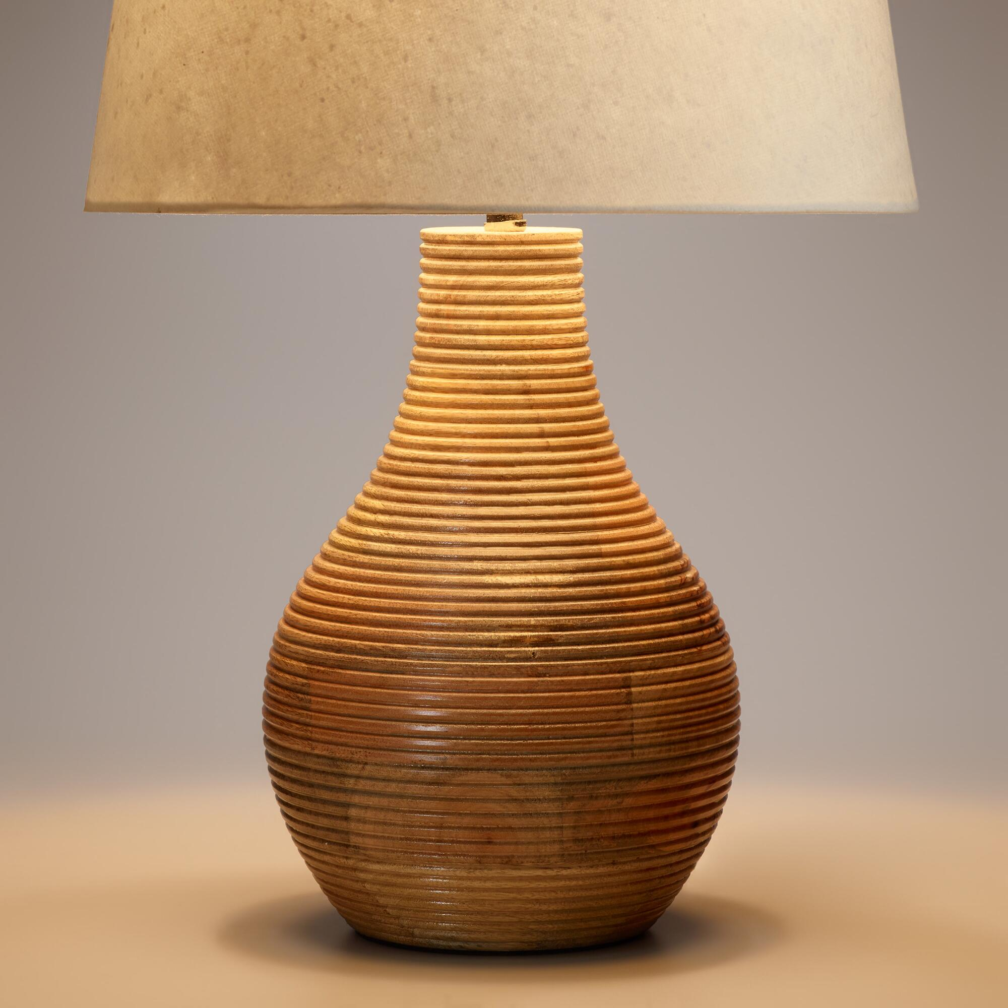 Ribbed wood table lamp base world market for Lamp wooden