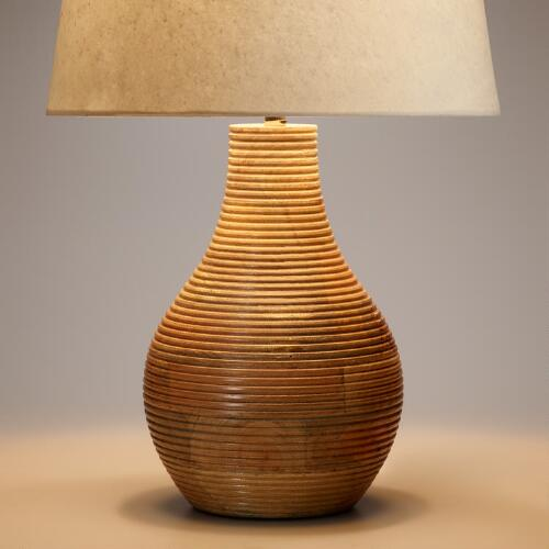 Ribbed Wood Table Lamp Base
