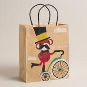Large Mustache Monkey on Bike Kraft Gift Bag