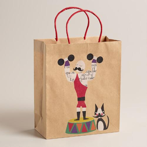 Large Mustache Weightlifter Kraft Gift Bag