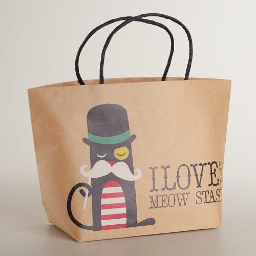 Medium Meow Stash Kraft Gift Bag