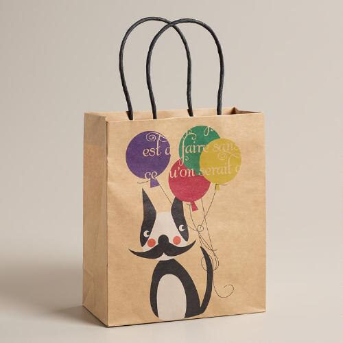 Medium Mustache Dog Kraft Gift Bag