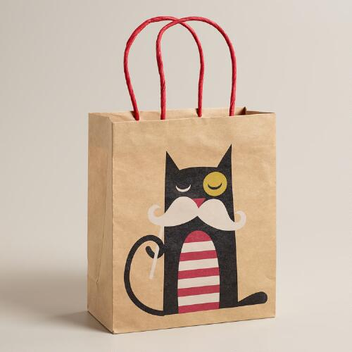 Medium Mustache Cat Kraft Gift Bag