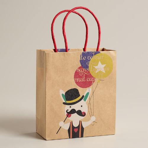 Small Mustache Bunny Kraft Gift Bag