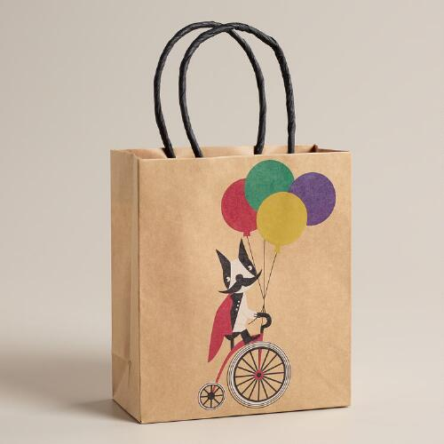 Small Mustache Dog on Bike Kraft Gift Bag