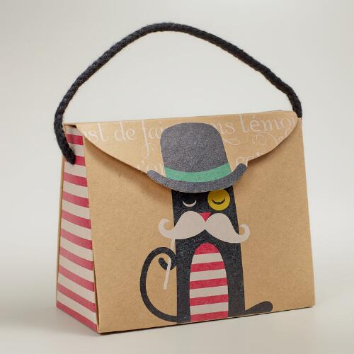 Mustache Cat Kraft Candy Purse