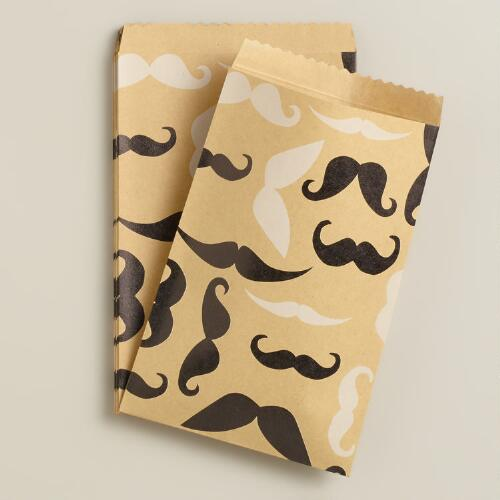 Mustaches Kraft Goodie Bags, 20-Count