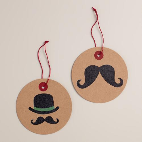 Mustache Kraft Gift Tags, Set of 6