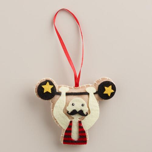 Mustache Weightlifter Felt Gift Tag