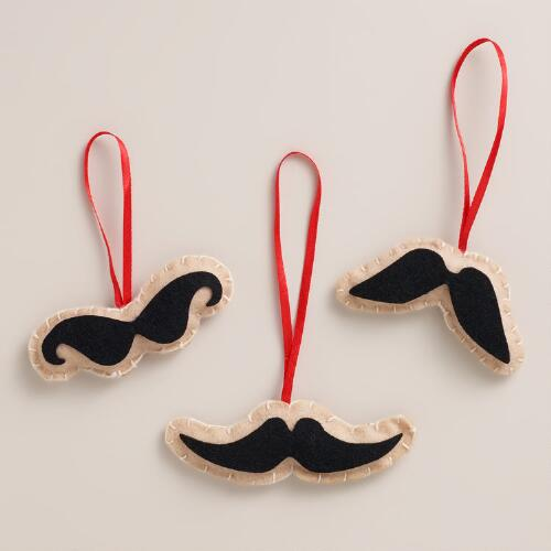 Mustache Felt Gift Tags, Set of 3