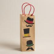 Mustache Hats Kraft Wine Bag