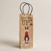'Bottoms Up' Mustache Weightlifter Kraft Wine Bag