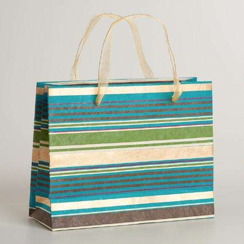 Large Scottish Mist Striped Handmade Gift Bag
