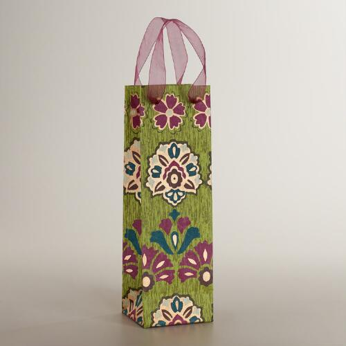 Green Medallion Handmade Wine Bag