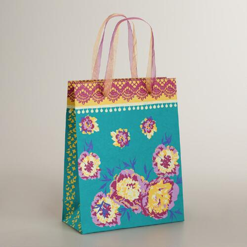 Large Floral Lace Handmade Gift Bag