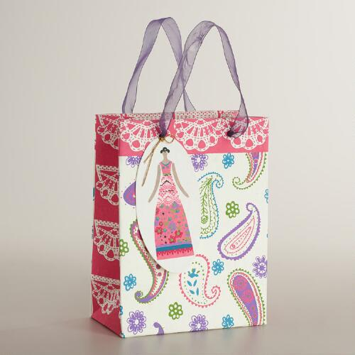 Small Lace Paisley Handmade Gift Bag