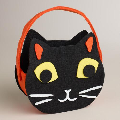 Black Cat Halloween Felt Container