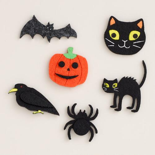 Halloween Characters Felt Stickers, 12-Pack