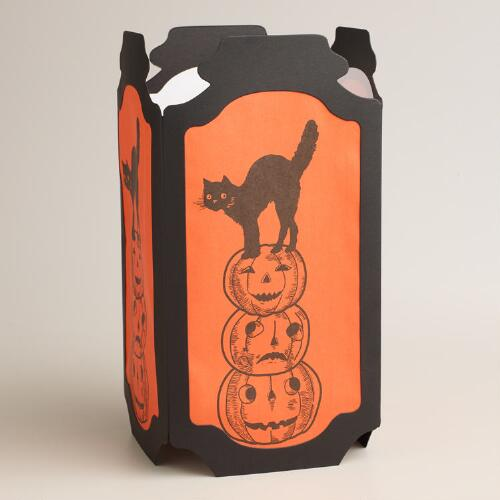 Cat and Pumpkins Halloween Tabletop Luminary