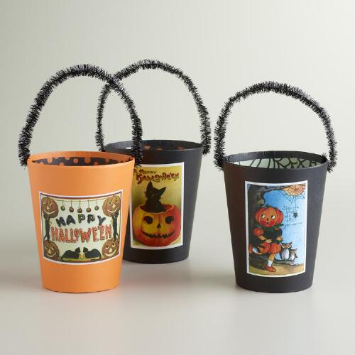Vintage Postcard Halloween Containers, Set of 3
